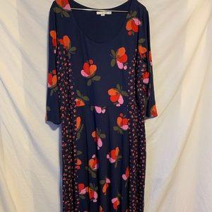 Boden 18L Navy blue pink floral long dress 926a